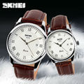 SKMEI Brand Luxury Lovers Quartz Watch Fashion Casual Watches 30m Waterproof Leather For Men Women Dress Wristwatches 9058