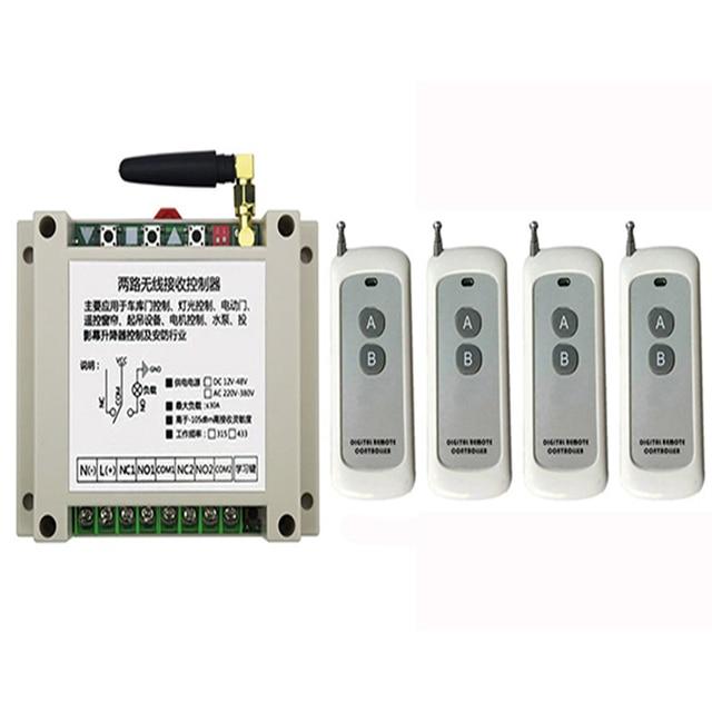 DC12V 24V 36V 48V 2CH 500m Long Range RF Wireless Remote Control Relay Switch Security System tubular motor garage door shutters