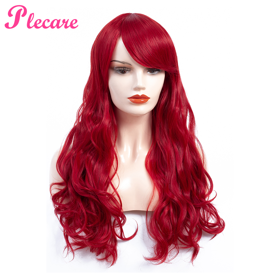 Plecare Ombre Red Color 150% Heavy Density Synthetic Wavy Wigs Heat Resistant Fiber Long Synthetic Wig For Women Cospaly Wigs
