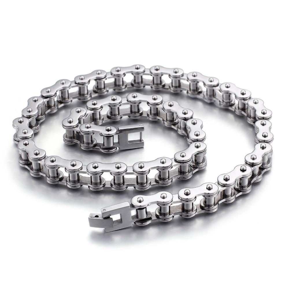 11mm haute qualité titane acier inoxydable poli argent chaîne de lien de vélo hommes femmes Biker collier ou Bracelet bijoux