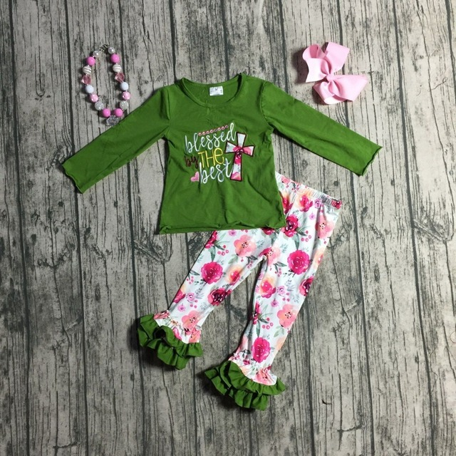 Nieuwe Herfst/Winter baby meisjes outfits groen roze bloemen gezegend door de beste Jezus katoenen kleding ruche boutique wedstrijd accessoires