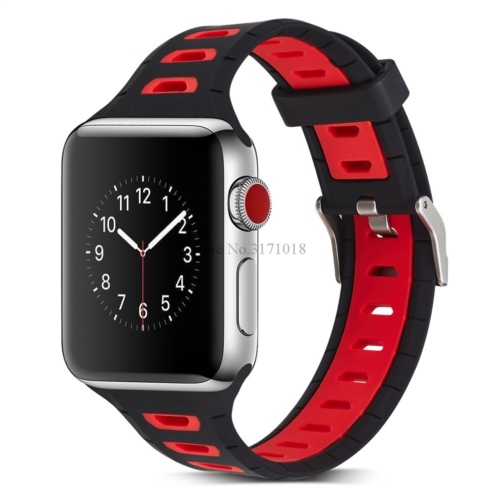Colorful Double Color Soft Silicone Replacement Sport Band For 38mm Apple Watch Series 1 2 3 42mm Wrist Bracelet Strap apple watch band 38mm 42mm secbolt metal replacement wristband sport strap for apple watch nike series 3 series 2 series 1