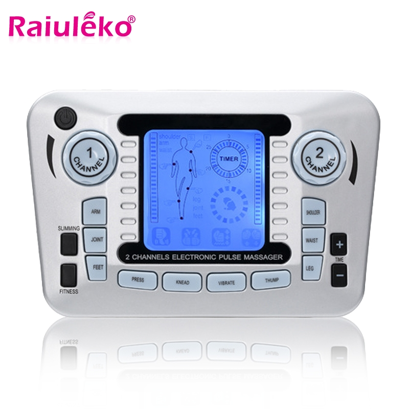 Dual Channel Electric Muscle Stimulator Weight Loss Body Massager Pulse Digital Therapeutic Tens Acupuncture Pain Relief +10 Pad