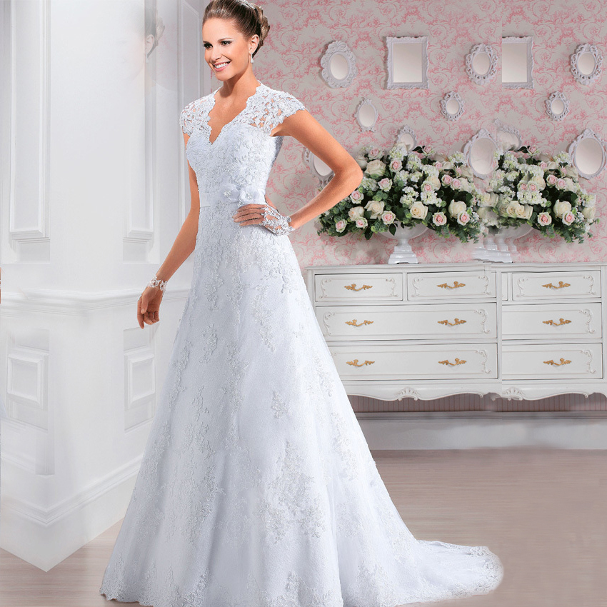 Adding Cap Sleeves Wedding Dress To: W3193 Short Sleeves Lace White Wedding Dresses Cap Sleeves