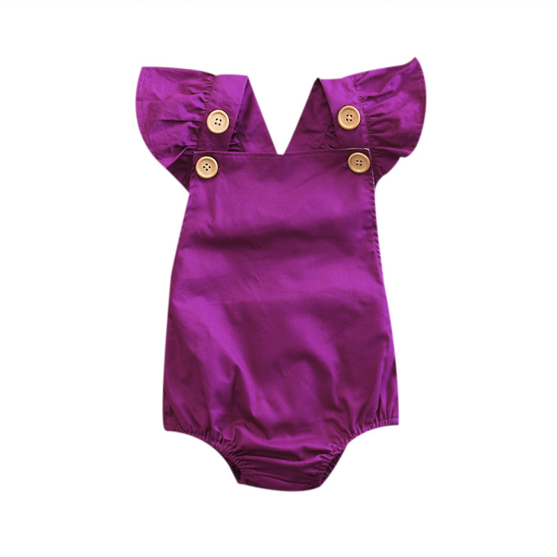 Brand New Cute Baby Girls Summer Purple   Rompers   Toddler Baby Solid Short Ruffle Sleeve Buttom Jumpsuit Outfits Sunsuits
