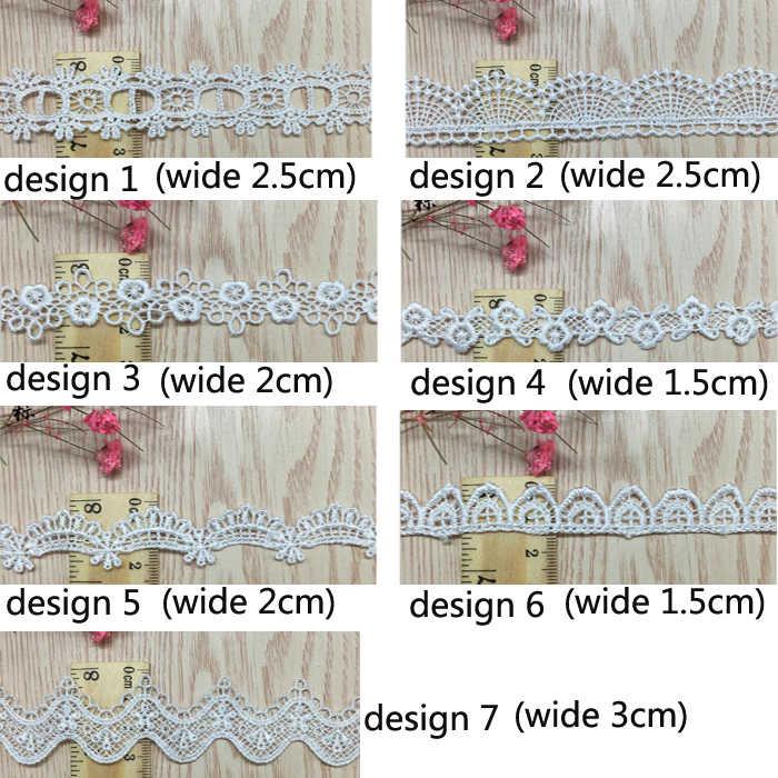 Cinta de encaje blanco DIY coser ropa accesorios hechos a mano adornos boda cumpleaños fiesta álbum de recortes collar decoración Wh