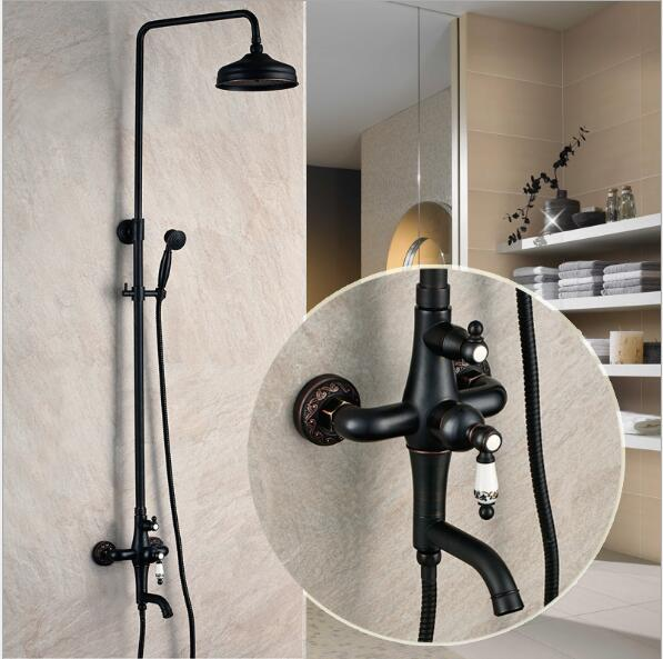 Luxury Antique Bath Rainfall Shower Faucet Set Black Bathtub ...