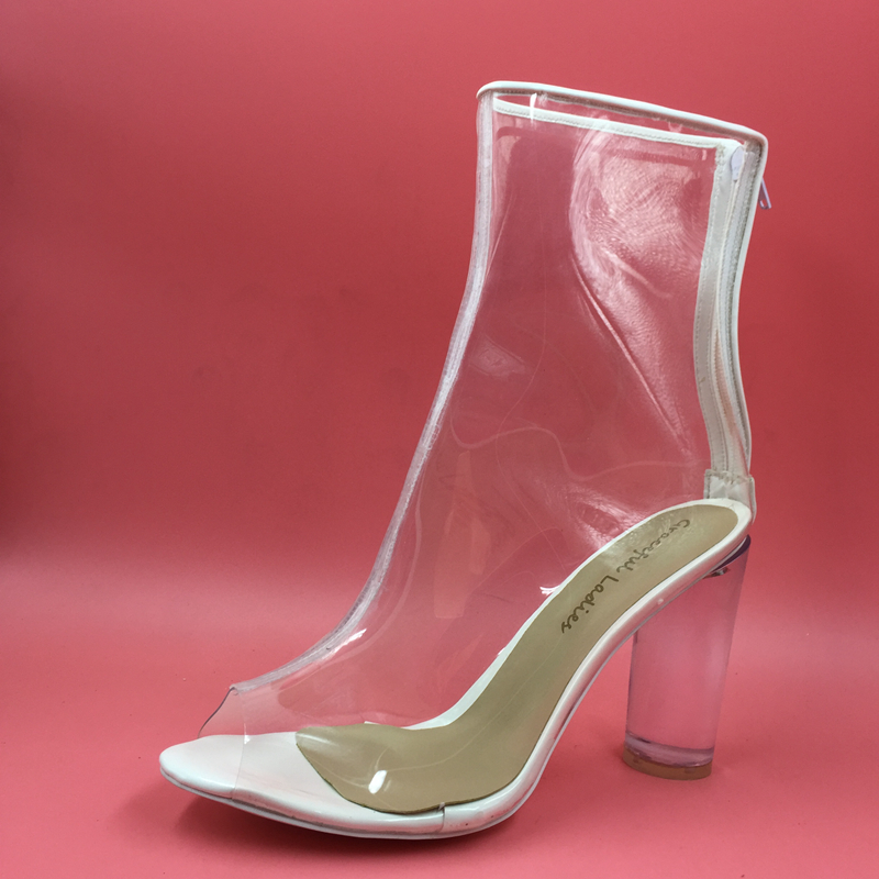 1b407f0291d73 See Through Jelly Shoes Women Ankle High Boots Black Plastic Clear Round  Heels 10cm 4 inch Custom Colors Fashion Runway Shoes-in Ankle Boots from  Shoes on ...