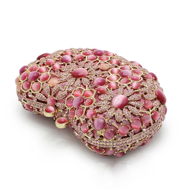 De Chaude Vente Sacs Gold Coeur pink Femmes Luxe Personnalisé D'embrayage Femelle Dames Sac Rose Xiyuan Forme Embrayages Soirée Diamant T55OYan7q