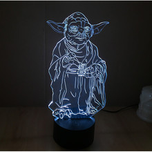 2016 New 3D Building Light Star Wars Yoda LED Night Light Touch Switch Acrylic 7 Colors Changeable Kids Bedroom USB Table Lamp