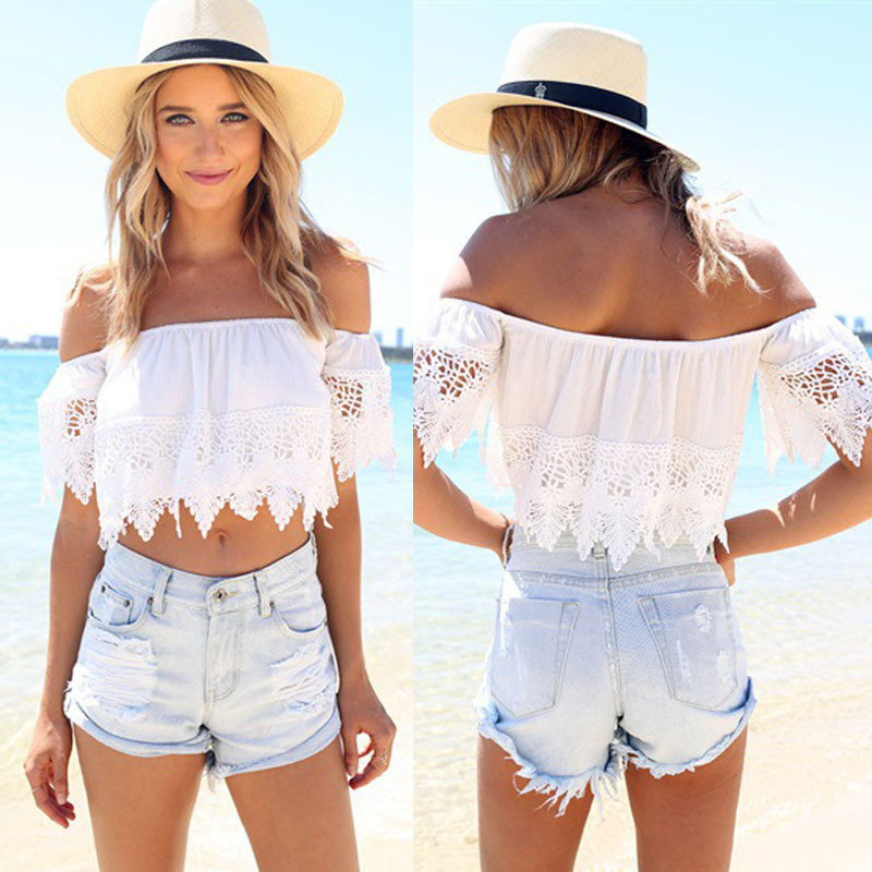 155b8ce0d6ef20 2016 New Fashion Lady Summer Blouse Sexy Off Shoulder Boho Lace White  Blouse Crop Tops Blusas Shirts Women Wholesale-in Tank Tops from Women's  Clothing on ...