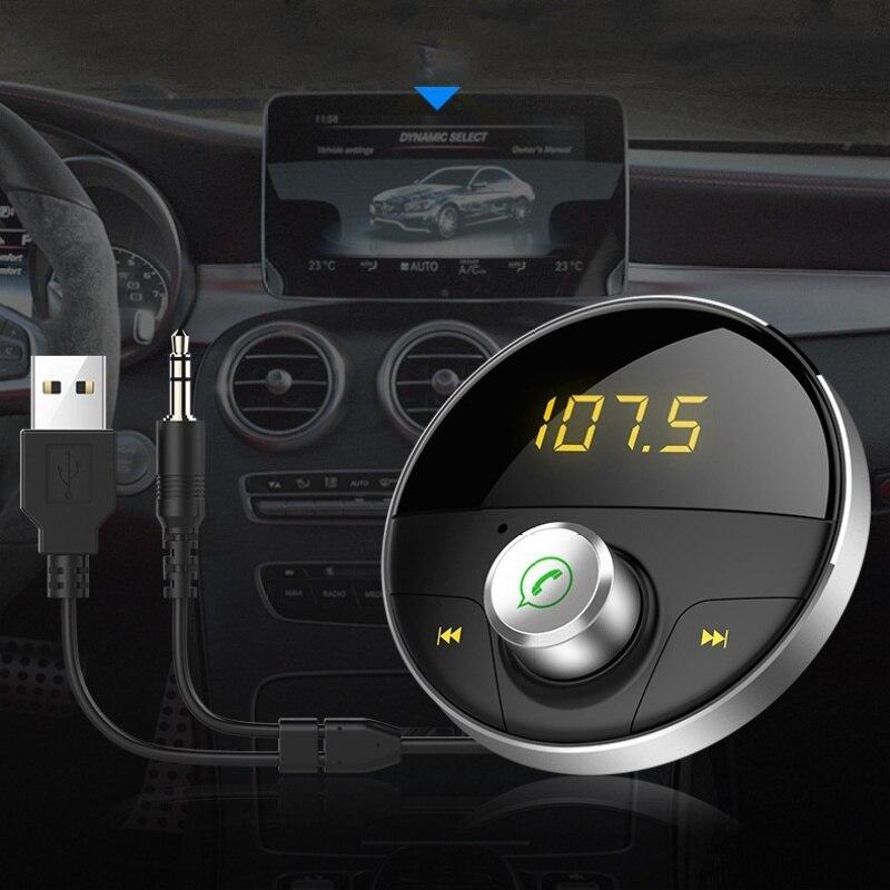 3.5mm Jack Bluetooth Récepteur Intégré Bruit Filtre Transmetteur FM Haut-Parleur Usb De Voiture Adaptateur Sans Fil Audio 3 m Magnétique Supports bas