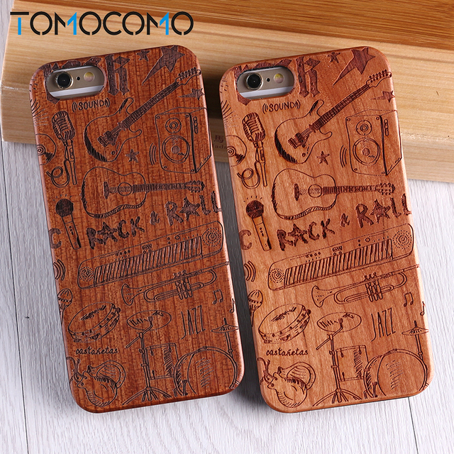 on sale 0e2b9 19282 US $4.54 35% OFF|Real Bamboo Rock Guitar Wood Case For iPhone 7 6 Plus 8  8Plus XS Max Case Coque Phone Accessories For SAMSUNG S8 S9lus Cover-in ...