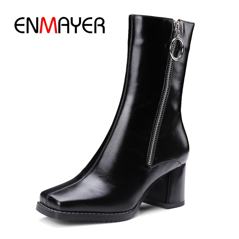 ENMAYER Boots women fashion square toe ankle boots women zipper boots high heel boots botas mujer Big Size 34-42 ZYL 1005ENMAYER Boots women fashion square toe ankle boots women zipper boots high heel boots botas mujer Big Size 34-42 ZYL 1005