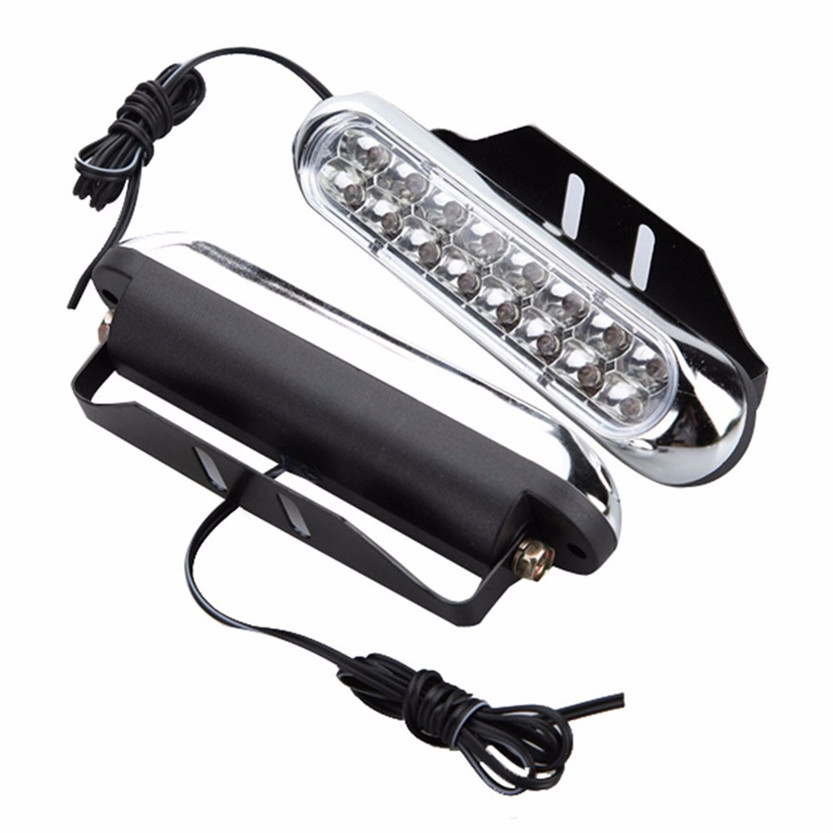 2017 NEW HOT Car-styling 2x Universal 16 LED Car Van DRL Day Driving Daytime Running Fog White Light Lamp July06#2 Dropship 5up car styling 2017 vehicle car style 8led daytime driving running light drl fog lamp for alfa romeo 147 156 159 166 4c 8c brera