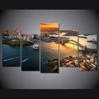 שמן ממוסגר 5 יחידות מודולרי תמונות ציור על בד נוף עירוני אוסטרליה סידני Cuadros קיר תמונות לסלון דקור