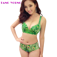 TANG YOUNG Deep V Neck Peacock Animal Print Bra Set Women Vintage Intimates Sets Sexy Lingerie