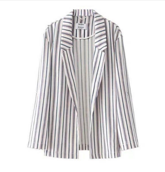 Chic Colored Vertical Striped Women Blazer 2017 Autumn New Fashion Notched Collar Open Stitching Suit Jacket Coat Outerwear