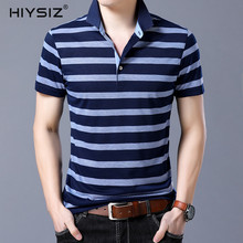 HIYSIZ NEW Men T-Shirt 2019 Streetwear Striped Casual Summer Selection of New Good Turn-down Collar Fashion Pullover ST209