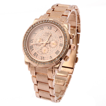 2016 New Fashion Womens Watches Analog Quartz Wrist Watch Stainless Steel Band Roman Numbers Round Rose Gold