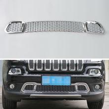 Авто Хром ABS передний капот Гриль бампер решетка сетка вставка крышка отделка наружный Автомобиль Стайлинг молдинги для Jeep Cherokee
