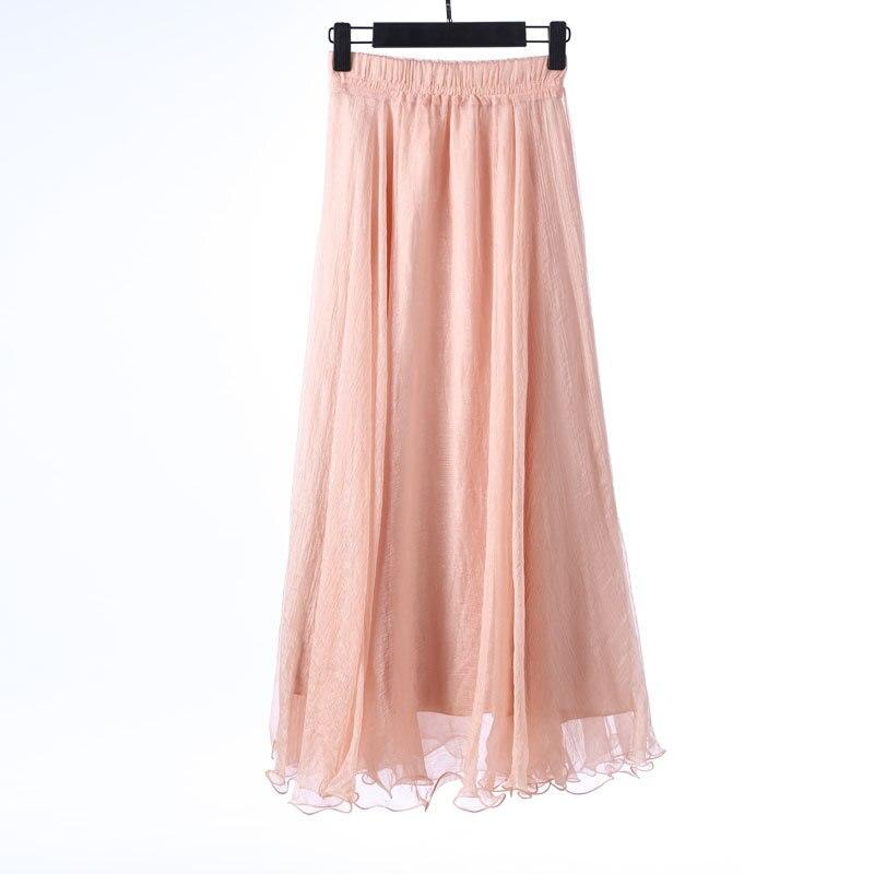 Sherhure 19 High Waist Women Chiffon Long Skirts Floor Length Ruffles White Summer Boho Maxi Skirt Saia Longa Faldas 41