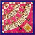 Саржа Шелковый Шарф Женщин 130*130 Евро солдата Меч Сабля Металлической Цепью Печати Квадратные Шарфы Высокое Качество Подарок мода Шелковый Платок