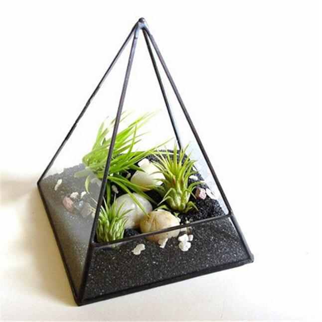 Terrarium de plantes aériennes, planteur de Terrarium de pyramide de verre. Kit Terrarium accessoires, verre géométrique Terrarium jardinage décoration