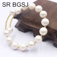 Free Shipping 10 12mm Fashion Jewelry Round White Edsion Natural Cultured Pearl Beads Memory Wire Adjustable Bracelet 24cm