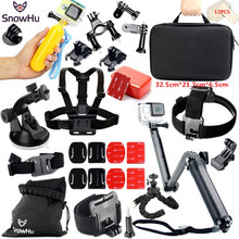 SnowHu for Gopro Accessories Set gopro hero 5 4 3 3+ kit Three way selfie stick  xiaomi yi 4k Eken h8r EVA case GS46