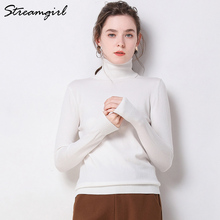 Female Turtleneck Knitted Jumper White Sweater