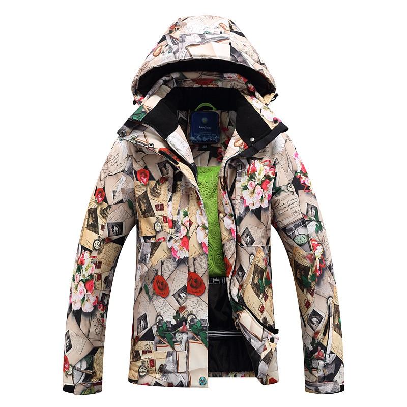 Ski font b Jacket b font font b Women b font Windproof Waterproof Flower Snowboard font
