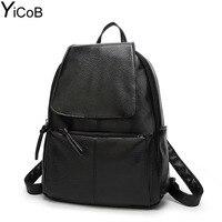 YiCoB Fashion Backpacks For Teenage Girls School Bags Women Solid PU Leather Backpack Ladies Travel Rucksacks