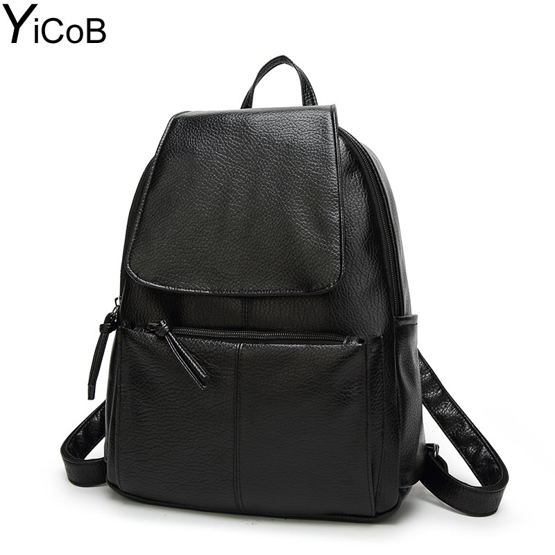 YiCoB Fashion Backpacks for Teenage Girls School Bags Women Solid PU Leather Backpack Ladies Travel Rucksacks Student Bookbag A4 2017 fashion women waterproof oxford backpack brand new ladies black backpacks for teenage girls school student shoulder bags