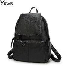 YiCoB Fashion Backpacks for Teenage Girls School Bags Women Solid PU Leather Backpack Ladies Travel Rucksacks Student Bookbag A4