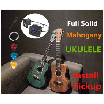 Ukulele 23 Inches Concert Full All Solid Mahogany Mini Electric Acoustic Guitar 4 Strings Guitarra Install Pickup Wood  Green