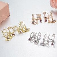 New women jewelry evil eye charm Ear Cuff Earrings,925 sterling silver pink zircon heat moon stud earring Monaco jewelry