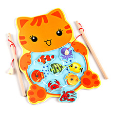 Lovely Cat Frogs Magnetic Fishing Game Jigsaw Puzzle Wooden Board Children Educational Toys For Children Kids Baby Educational early educational toys wooden toys 32 piece set magnetic fishing game table game for children kids