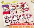 2015 For iPhone6 6 s 4.7 / 5.5 pulgadas Hello kitty de cuero moda caso carpeta de la Pu del tirón del cuero de la bolsa para Sam Note4 caja del teléfono