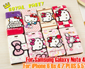2015 For iPhone6 6s 4.7/5.5 inch Hello kitty Case Fashion Leather Case Pu Wallet Flip Pouch Leather For Sam Note4 Phone Case