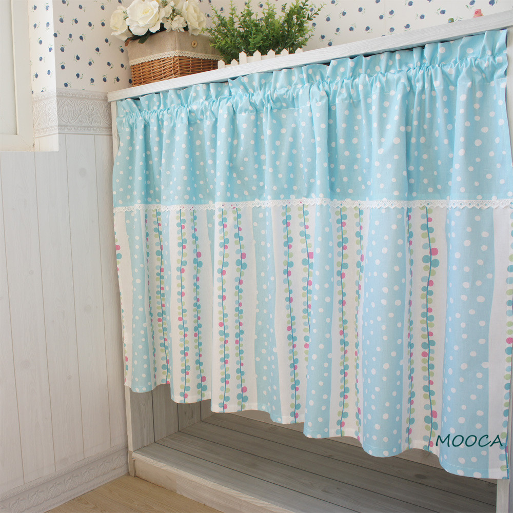 Buy Cute Blue Dot Curtain Patchwork Semi Shade Kitchen Curtain Cotton From