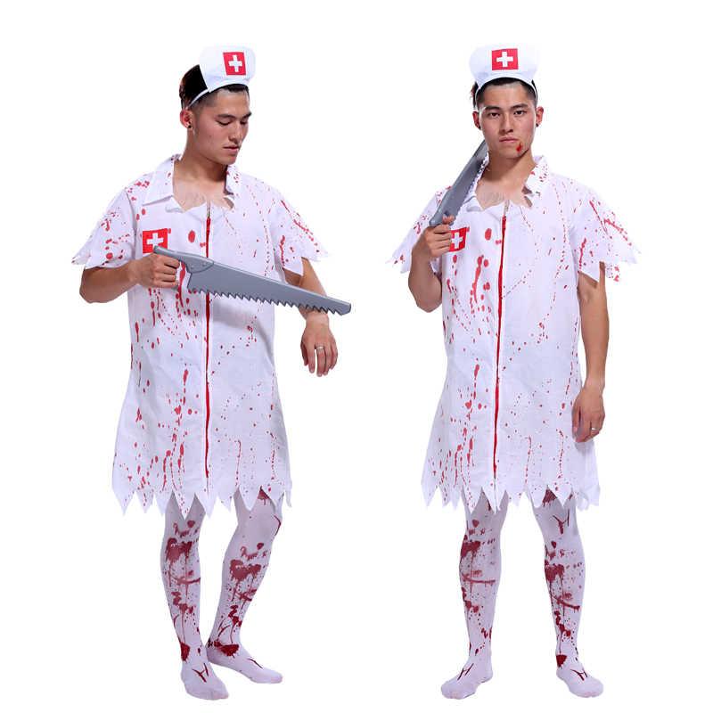Livraison gratuite chaud Halloween mascarade RPG horreur sanglante vêtements adultes hommes infirmières médecins et infirmières vêtements