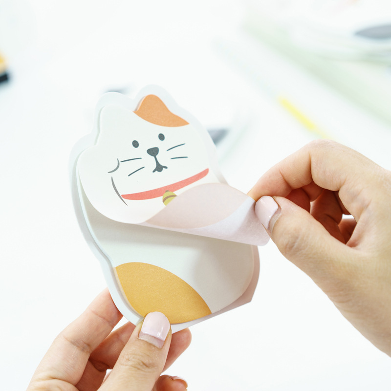 1Pack Cute Lucky Cat Random Notes Post it N Times Sticky Memo Pad Stationery Office Supplies M0424