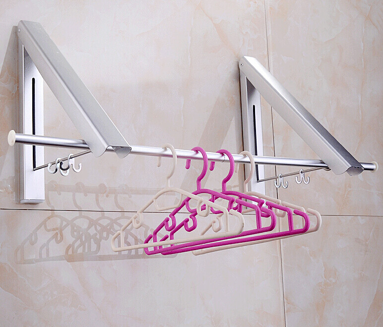 New Wall Mounted Space Aluminum double Clothes Drying Hanger Foldable Laundry Rack with promotion price