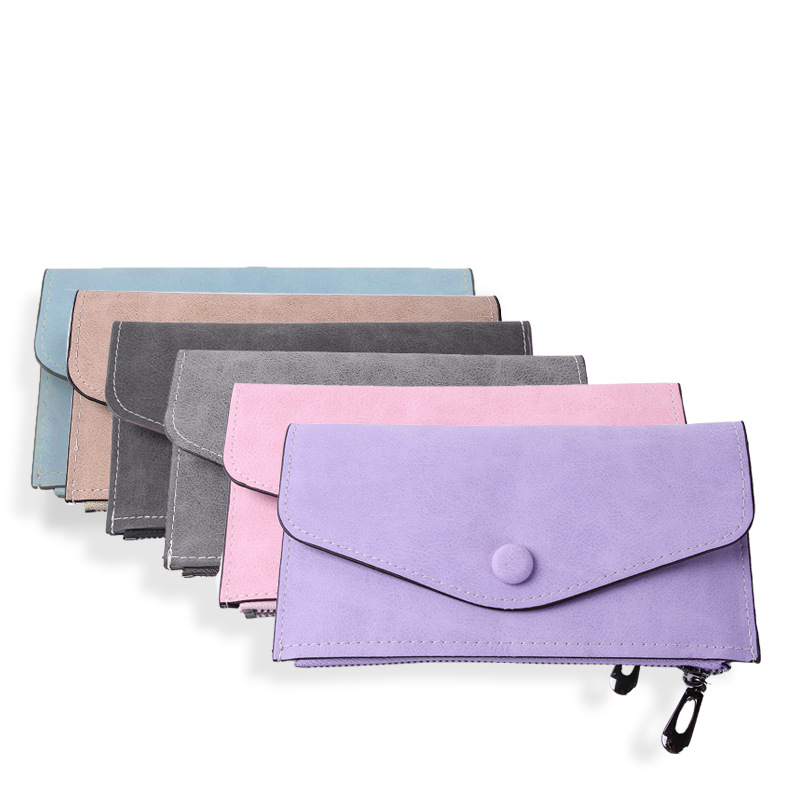 Lady Zipper Wallet Buckle Long New Frosted Leather Retro Student Mini bags in all colours
