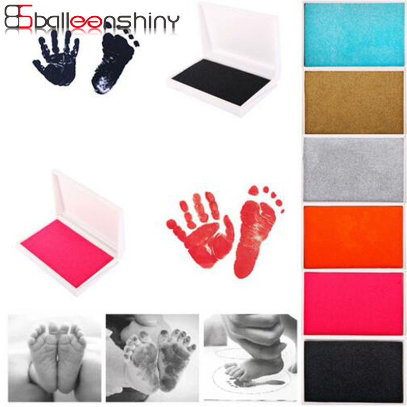 BalleenShiny Baby Handprint Footprint Imprint Kit Inkpad Non-Toxic Newborn Souvenirs Casting Ink Pad Infant Clay Toys Cute Gifts inkless baby hand and footprint kit
