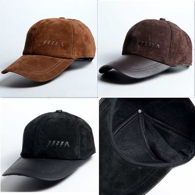 c6c34fa88 Fashion Men Genuine Leather Suede Baseball Cap Classic Hat High Quality,  Coffee / Black / Brown for Business-in Baseball Caps from Men's Clothing &  ...