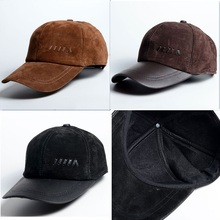 Fashion Men Genuine Leather Suede Baseball Cap Classic Hat High Quality, Coffee / Black / Brown  for Business