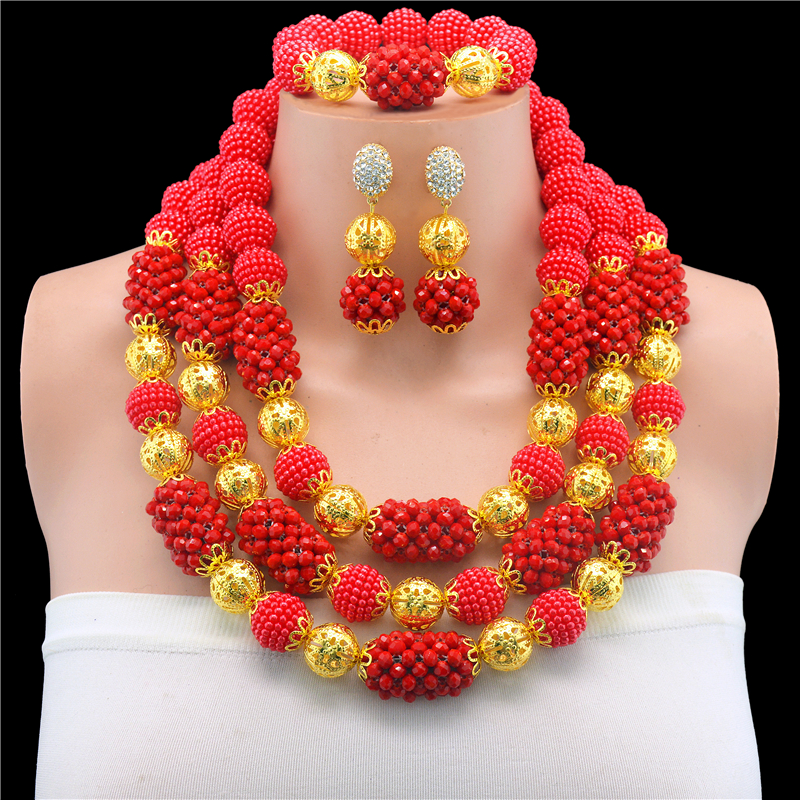 цена African Beads Jewelry Set Fashion Bridal Jewelry Sets Red Necklace Earrings Bracelet Set Nigerian Wedding Jewelry Jewellery Set онлайн в 2017 году