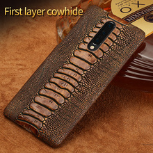 Genuine Leather Phone Case For Oneplus 7 Pro Ostrich Leg grain Shell For Oneplus 7 6 6T 5 5T 3 3T X Shockproof Luxury Back cover цена